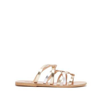 Ancient Greek Sandals - Donousa Metallic Leather Sandals - Womens - Silver Gold