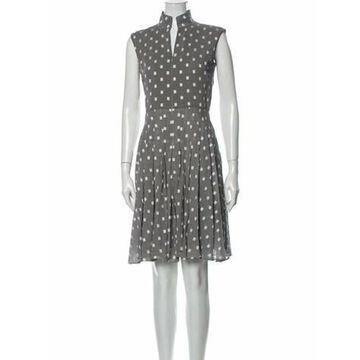Printed Knee-Length Dress Grey