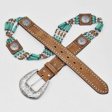 Nocona N3412744-S Ladies Beads & Floral Concho Belt, Medium Brown - Small