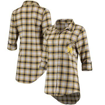 Michigan Wolverines Concepts Sport Women Forge Rayon Flannel Long Sleeve Button-Up Shirt - Navy/Gold