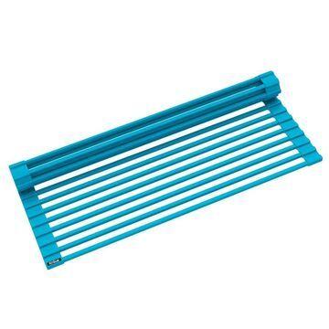 Kraus KRAUS Multipurpose Over-Sink Roll-Up Dish Drying Rack in Aqua in Blue