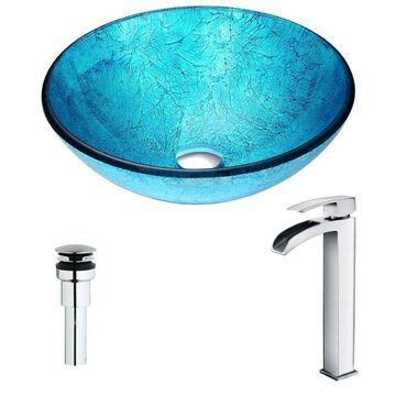 ANZZI Accent Series Ice Tempered Glass Vessel Round Bathroom Sink with Faucet (Drain Included) (16.5-in x 16.5-in) in Blue | LSAZ047-097