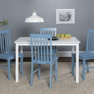 Walker Edison Modern 5-Piece Dining Set - White / Power Blue