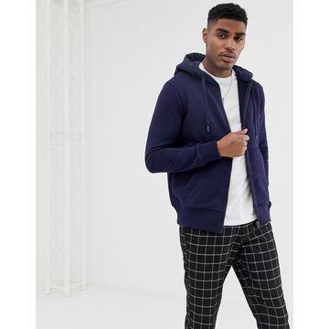 G-Star zip up hoodie with hood branding in navy