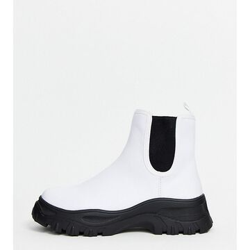Monki sporty Chelsea boots in white-Black