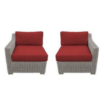TK Classics Coast Vanilla Creme Outdoor Wicker Left Arm Sofa and Right Arm Sofa