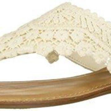 Fergalicious Women's Silence Flat Sandal, Cream, 5 M US