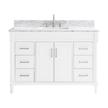 allen + roth Perrella 49-in White Single Sink Bathroom Vanity with Carrera White Natural Marble Top