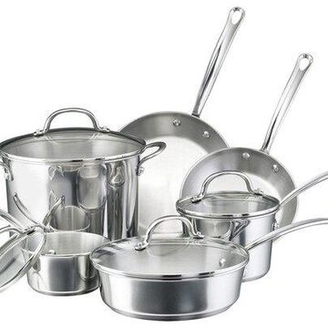 Farberware - 10-Piece Cookware Set - Stainless-Steel