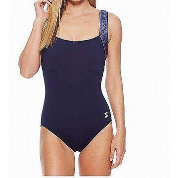 TYR Womens Blue Size 6 Fitness UPF 50 Square Neck One-Piece Swimwear