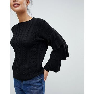 Fashion Union Cable Knit Sweater With Frill Sleeves