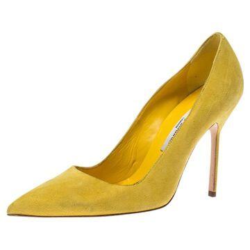 Manolo Blahnik Yellow Suede Heels