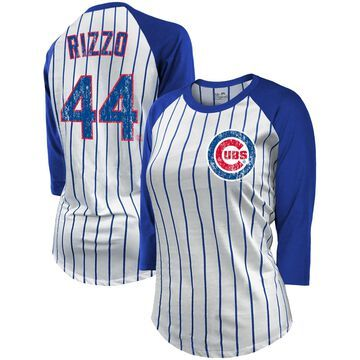 Women's Majestic Threads Anthony Rizzo White/Royal Chicago Cubs Pinstripe Player Name & Number Raglan 3/4-Sleeve T-Shirt