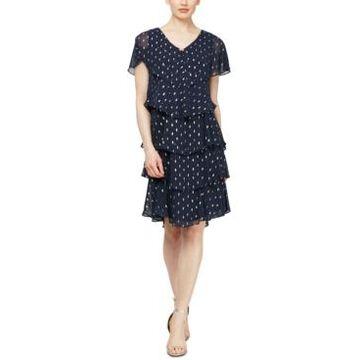 Sl Fashions Polka-Dot Tiered Shift Dress