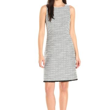 Ellen Tracy Black Womens Size 10 Tweed Fringe-Trim Sheath Dress