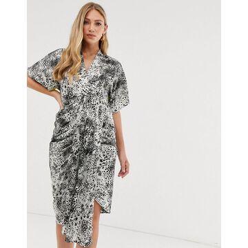 Liquorish drape front midi dress in animal mix print