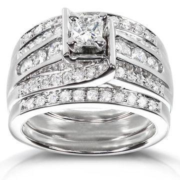 Annello by Kobelli 14k White Gold 1ct TDW 3-piece Diamond Bridal Ring Set
