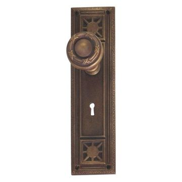 Nantucket Privacy Door Set, Aged Brass, 2-3/4