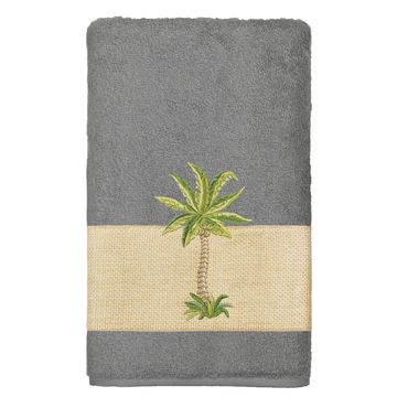 Authentic Hotel and Spa Turkish Cotton Palm Tree Embroidered Charcoal Grey 8-piece Towel Set
