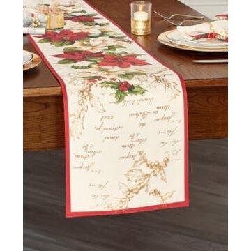 Elrene Red and White Poinsettias Table Runner