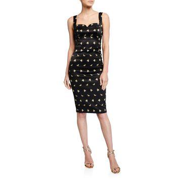 Sprig-Print Satin Pencil Dress