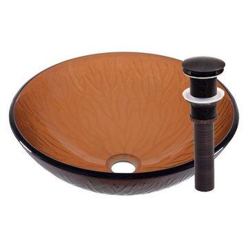 Gambo Glass Vessel Sink and Drain, Oil Rubbed Bronze