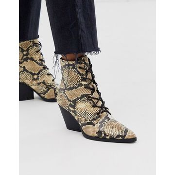 Qupid lace up western ankle boots-Multi