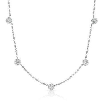 Noray Designs 14K White Gold Diamond (1.20 Ct, G-H Color, SI2-I1 Clarity) Cluster Necklace, 17 Inches (17 Inch - White - White)