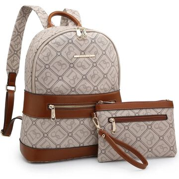 Dasein Monogram/Signature Logo Faux Leather Backpack with Matching wristlet