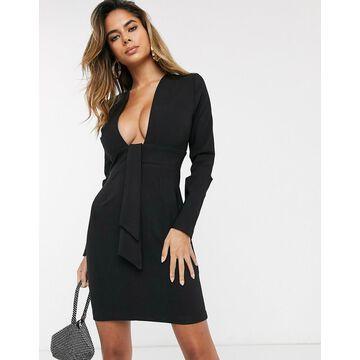 Vesper deep plunge neck mini dress in black