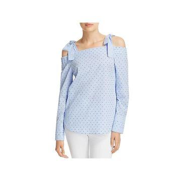 Derek Lam 10 Crosby Womens Pullover Top Check Print Long Sleeves