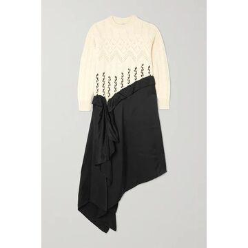 Loewe - Asymmetric Paneled Wool And Alpaca-blend And Satin Midi Dress - White
