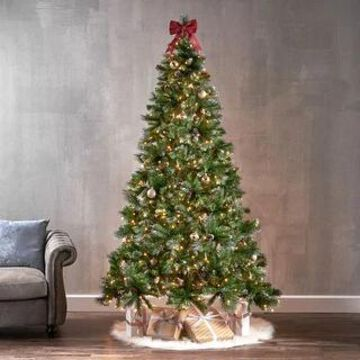 7.5-ft Spruce Pre-Lit or Unlit Artificial Christmas Tree with Glitter Branches Red Berries Pinecones by Christopher Knight Home (Clear)