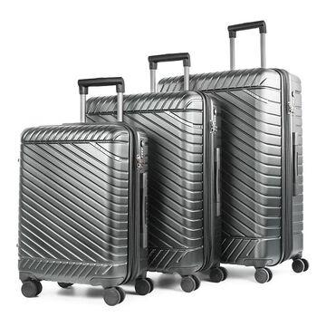 Bugatti Moscow Hard Side 3-Piece Luggage Set, Silver, 3 Pc Set