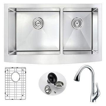 ANZZI Elysian Farmhouse 36 In. Double Bowl Kitchen Sink w/ Accent Fauc