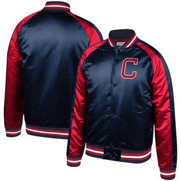 Men's Mitchell & Ness Navy Cleveland Indians Colorblocked Satin Raglan Full-Snap Jacket