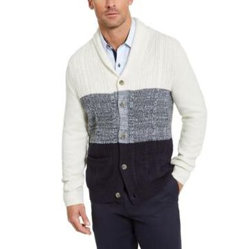 Tasso Elba Men's Chunky Cable-Knit Colorblocked Shawl-Collar Cardigan, Created For Macy's