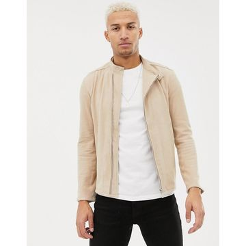 Religion suede racer jacket-Gray