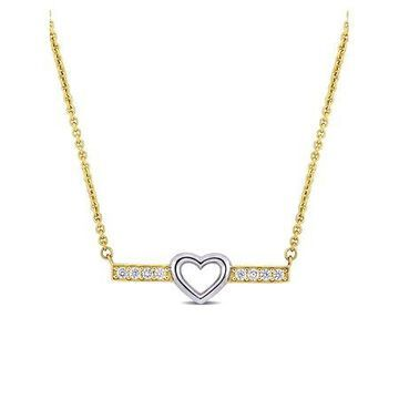 3/8 Carat T.G.W. White Topaz 10kt Yellow and White Gold Heart Necklace