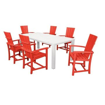POLYWOOD Quattro 7-Piece Dining Set, Sunset Red/White