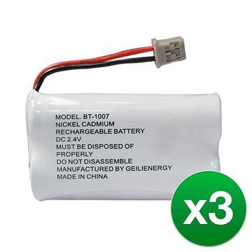 Replacement For Uniden BT1007 Cordless Phone Battery (600mAh, 2.4V, Ni-MH) - 3 Pack