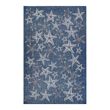 Liora Manne Carmel Starfish Indoor Outdoor Rug, Blue, 8Ft Sq