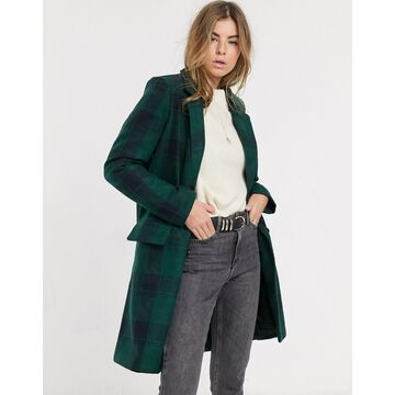 Brave Soul berwick tailored coat in check-Navy