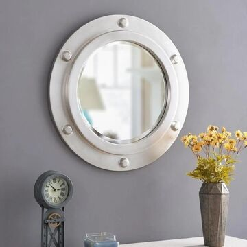 Obion 24-inch Round Weathered Steel Wall Mirror - 24