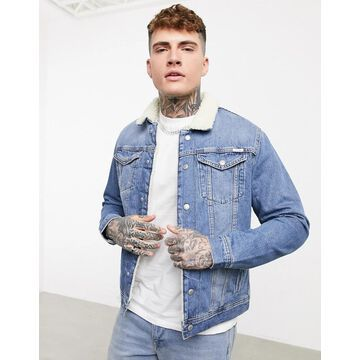 Jack & Jones Intelligence denim jacket with shearling in blue