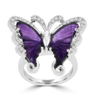 Sterling Silver Natural Amethyst 6 2/5ct and Diamond 0.35ct TDW Butterfly Ring by La Vita Vital - Purple
