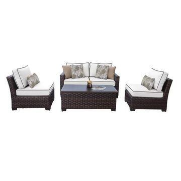kathy ireland River Brook 5 Piece Outdoor Wicker Patio Furniture Set 0