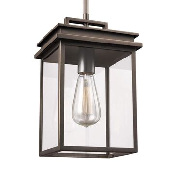 Feiss Glenview Antique Bronze Traditional Clear Glass Lantern Pendant Light