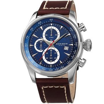Akribos XXIV Men's Quartz Chronograph Blue Leather Strap Watch