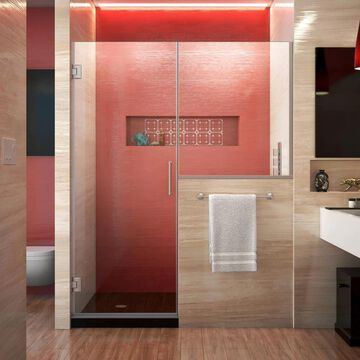 DreamLine Unidoor Plus 72-in H x 59-in to 59-1/2-in W Frameless Hinged Brushed Nickel Shower Door (Clear Glass) | SHDR-24233636-04
